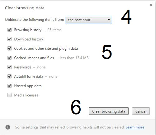 Print screen for deleting browser history in Google Chrome steps 4, 5 and 6