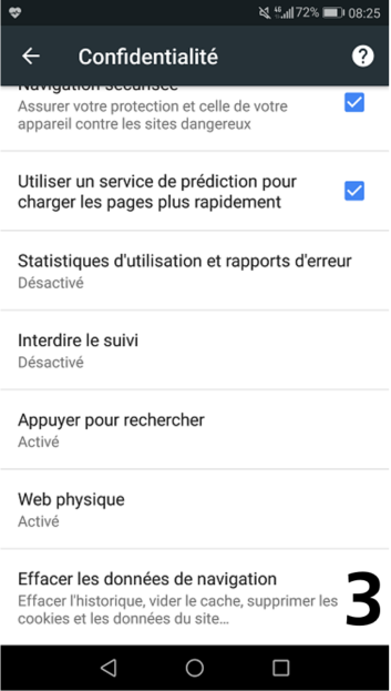 Capture d'écran de la suppression de l'historique dans Google Chrome Mobile, étape 2