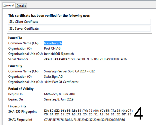 Print screen for certificate authentication in Firefox Explorer step 4