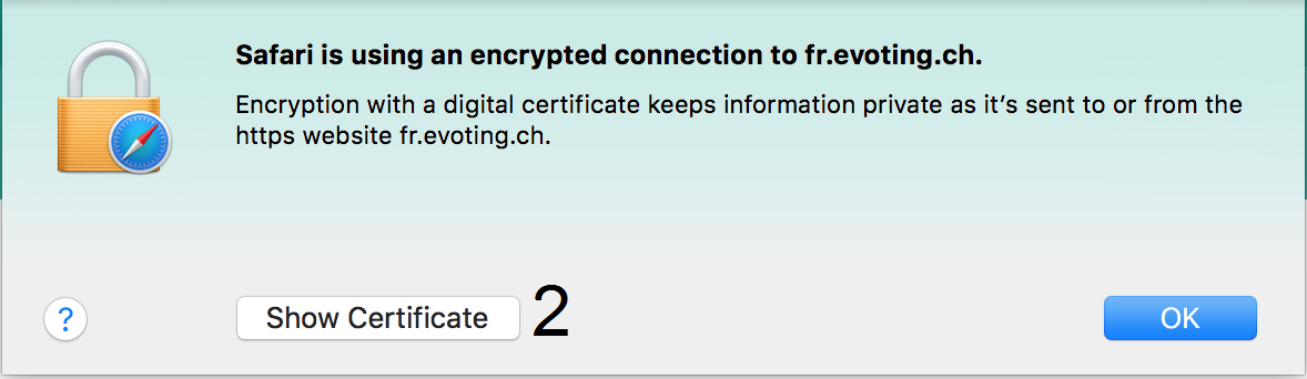 Print screen certificate authentication in Safari Explorer step 2
